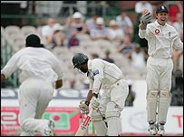Mohammad Yousuf is stumped by Geraint Jones off Panesar