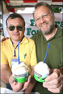 Jerry Greenfield of Ben & Jerry's and a Paraguayan sugar farmer