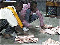 Officials counting votes in Yolo North, western Kinshasa
