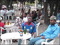 Voters relax at outside bars