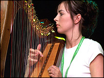 June Naylor who plays the clarsach, a type of harp
