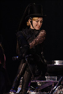 Madonna in riding gear at Cardiff