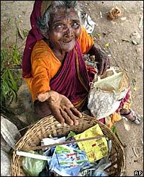 A beggar woman in Mumbai