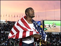 Justin Gatlin after winning gold at the World Championships last year