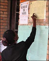 First results from Sunday's landmark elections in DR Congo being published outside a polling stations