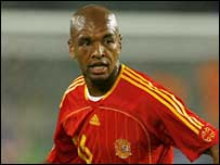 Marcos Senna in action for Spain at the 2006 World Cup