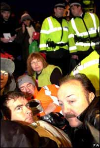 Tommy Sheridan and George Galloway protesting outside Faslane