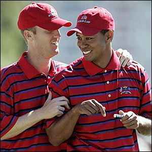 Chris Riley (left) and Tiger Woods