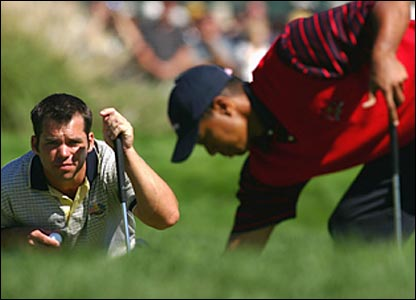 Paul Casey (left) and Tiger Woods