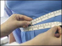 Overweight person being measured
