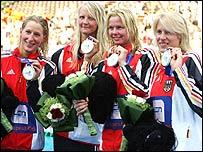 Annika Liebs (L), Petra Dallmann (2nd L), Britta Steffen (2nd R) and Daniela Goetz