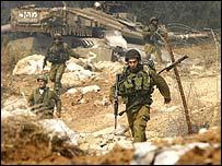 Israeli troops at the Lebanon-Israel border