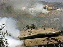 Israeli tank along the Lebanon-Israel border
