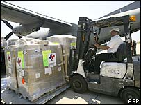 Aid arrives at Beirut airport