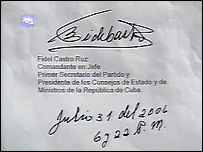 Castro's statement from Cuban TV