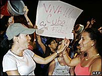 Cuban expats celebrate the news of Castro's illness in Miami on Monday