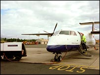 BA plane at Isle of Man airport