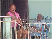 Cuban couple on porch