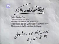 Firma de Fidel Catro en el texto