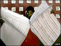 Man with huge ballot paper