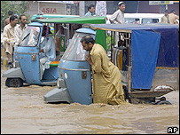 Flooded street in Lahore