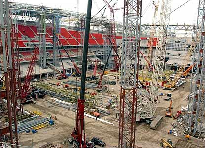 Construction work continues inside the stadium