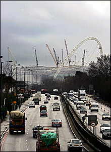 The stadium's arch can be seen behind the A406