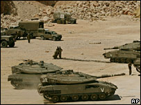 Israeli tanks near the border with Lebanon