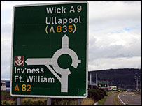 Road sign on A9 close to the scene of Monday's crash