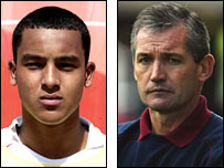 Theo Walcott (left) and George Burley