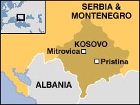 Map of Kosovo with Mitrovica and Pristina marked