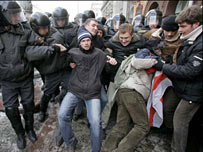 Protesters scuffle with riot police in Minsk, Belarus