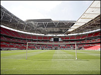 The goalposts have already been erected at Wembley