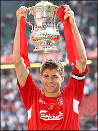 Liverpool captain Steven Gerrard celebrates with the trophy at last year's FA Cup final at the Millennium Stadium