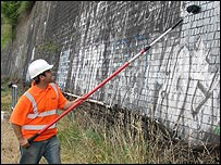 The clean-up operation - pictures courtesy Network Rail