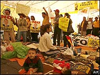 Protesters camping in Mexico City