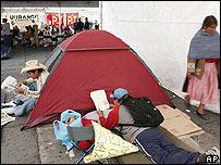 Seguidores de Andrés Manuel López Obrador acampan en el Zócalo