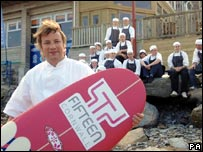 Jamie Oliver and staff outside his Fifteen Restaurant near Newquay