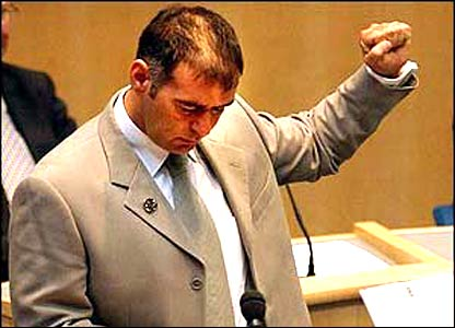 Tommy Sheridan being sworn in as an MSP