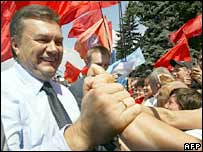 Viktor Yanukovych with his supporters in Kiev on 2 August 2006