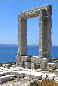 The gate of Apollo in the Cycladic island of Naxos