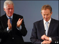 Bill Clinton and Tony Blair in California on Tuesday