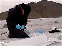 Dr Benning at work on Spitsbergen in Svalbard - Picture courtesy of Storvik/AMASE