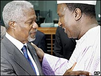 UN Secretary-General Kofi Annan and African Union President Alpha Oumar Konare 