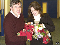 Gordon and Sarah Brown with baby John