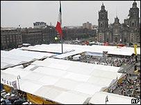 Tents in Zocalo, Mexico City