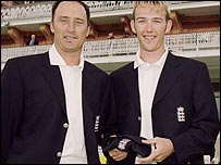 Chris Schofield receives his first England cap from captain Nasser Hussain at Lord's in 2000