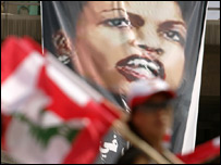 Poster of US secretary General Condoleeza Rice on a rally in Beirut