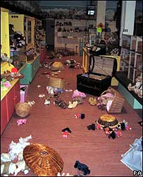 The scene after Barney went on the rampage