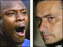 Chelsea defender William Gallas (left) and Blues boss Jose Mourinho